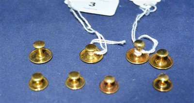 Lot 3-Two sets of gold shirt studs
