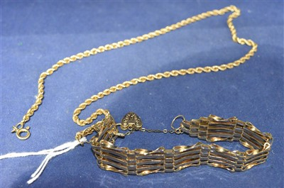 Lot 10-Gold bracelet and necklace