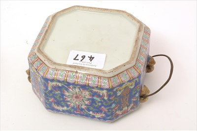 Lot 467-Chinese Famille Rose jar, cover and stand.