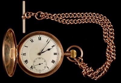 Lot 38 - Gold hunter pocket watch and Albert