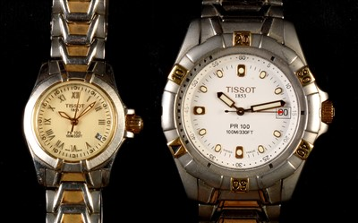 Lot 2-Lady's and gent's Tissot watches.