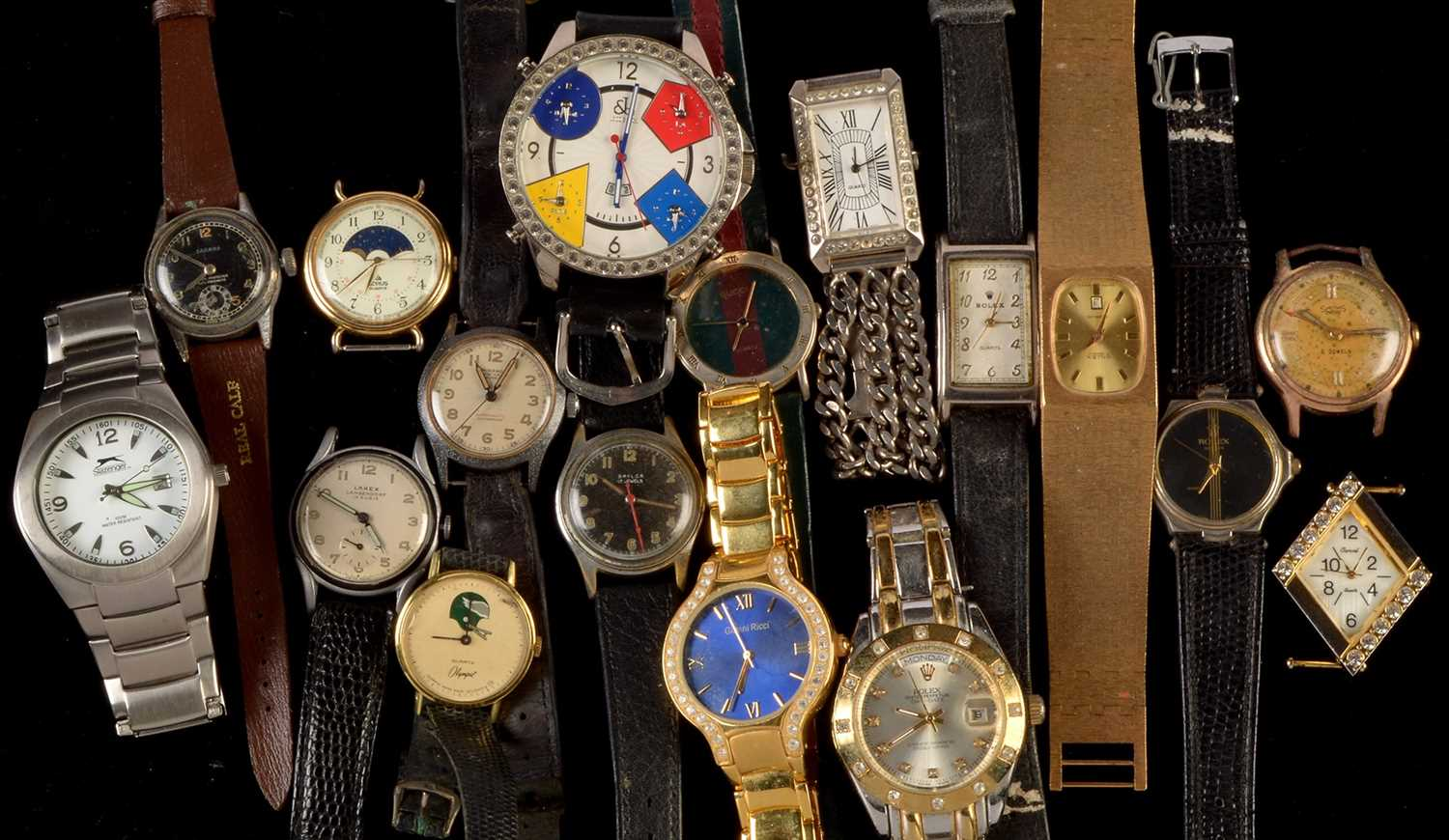 Lot 3-Five vintage watches; and a selection of fashion/imitation watches.