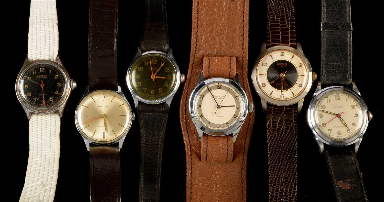 Lot 9-Six vintage wristwatches.