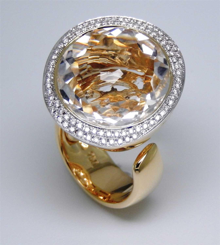 221 - Al Coro white topaz and diamond ring