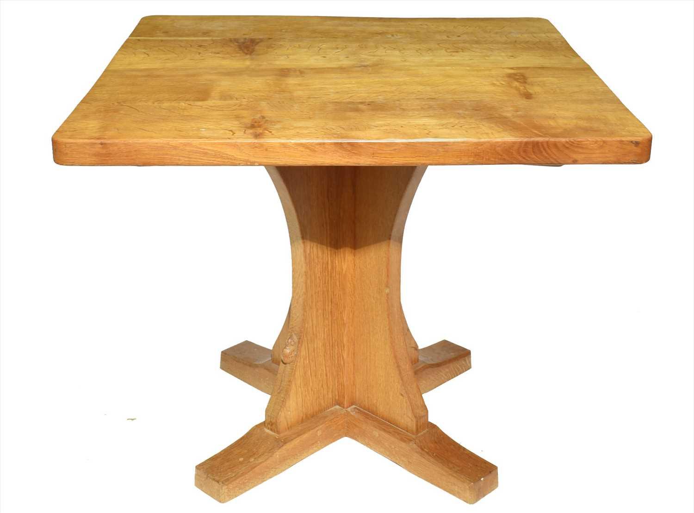 Lot 1147-Mouseman: a Robert Thompson of Kilburn square dining table.
