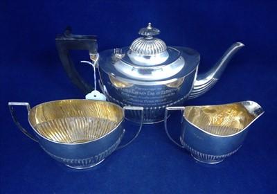 Lot 423-Three piece silver tea service