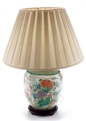 Lot 373-Modern Chinese Famille Rose lamp base.