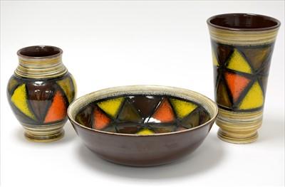 Lot 912-Aldo Londi 'Vetrata' pottery x 3