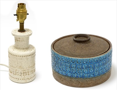 Lot 913-Aldo Londi Bitossi croc pot and cover; and ceramic lamp base.  (2)