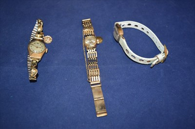 Lot 9-Three gold cased watches
