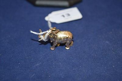 Lot 13-A 9ct yellow gold elephant pattern pendant