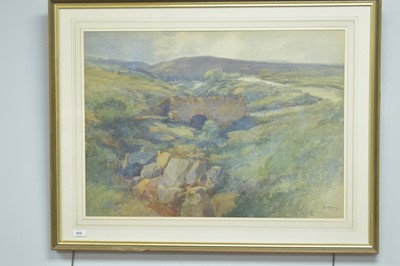 Lot 998-E* Black - a moorland road crossing a bridge over a stream