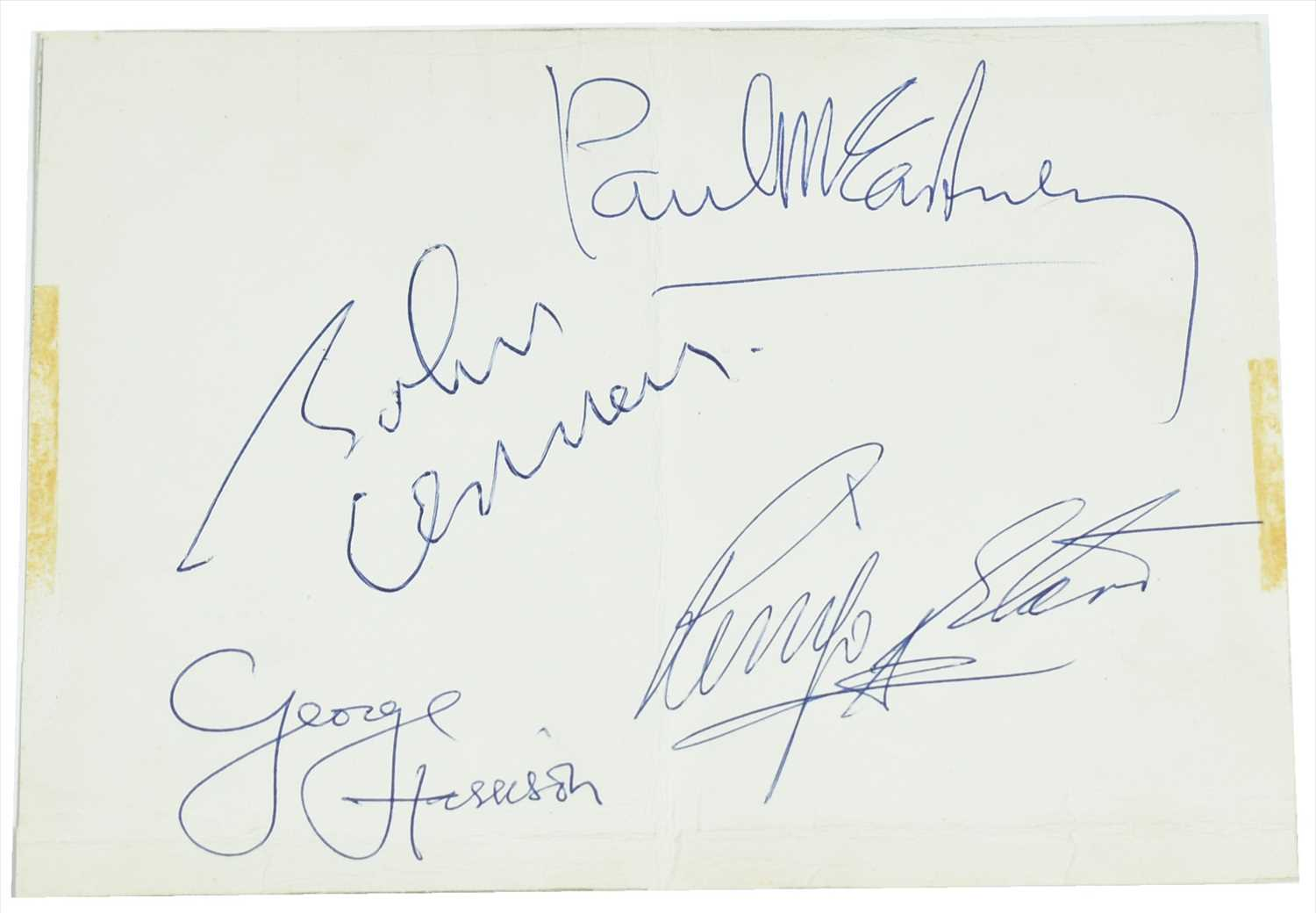 Lot 1071-Set of four Beatles signatures