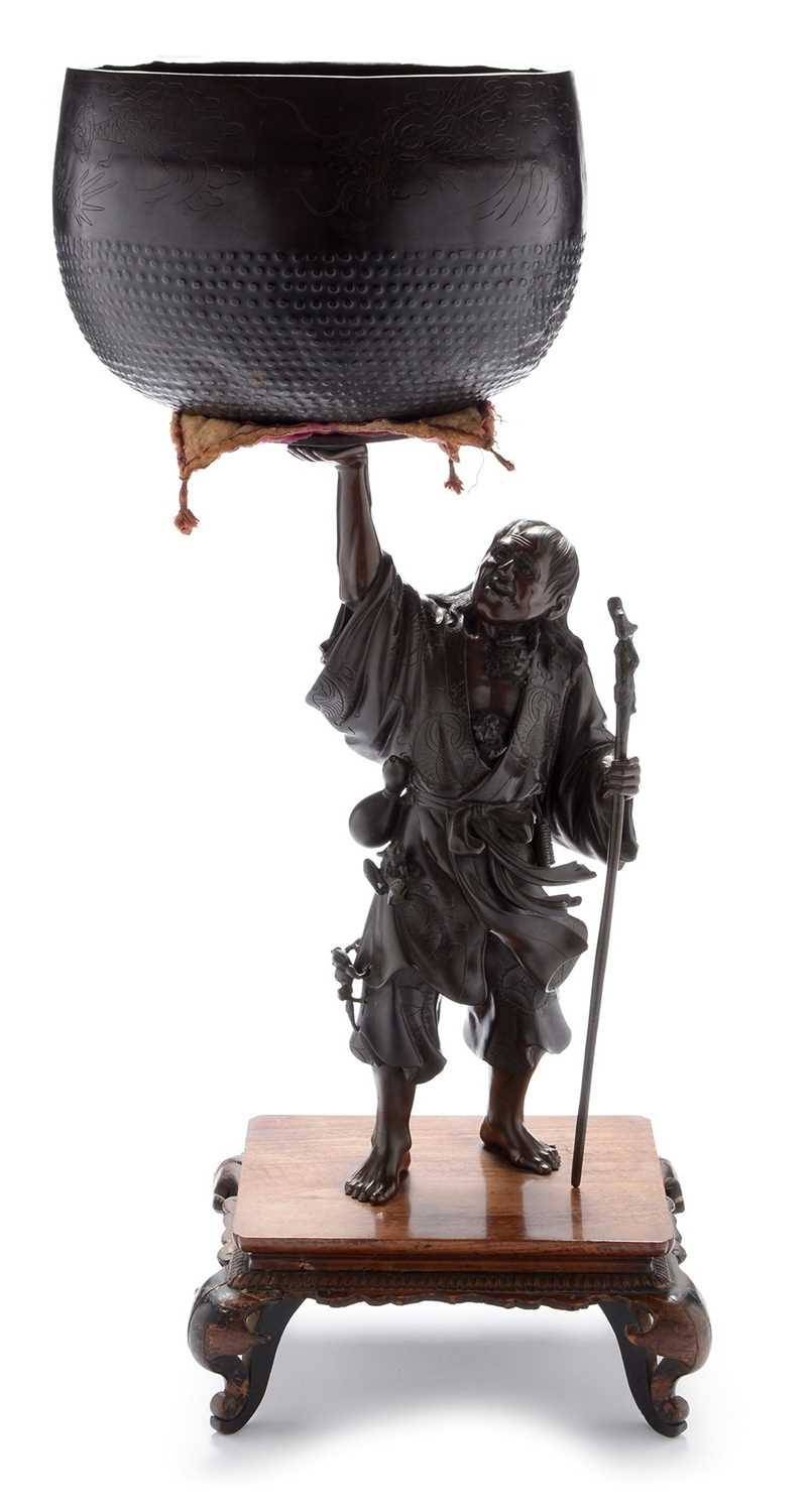 438 - Japanese Meiji period figural gong and stand.
