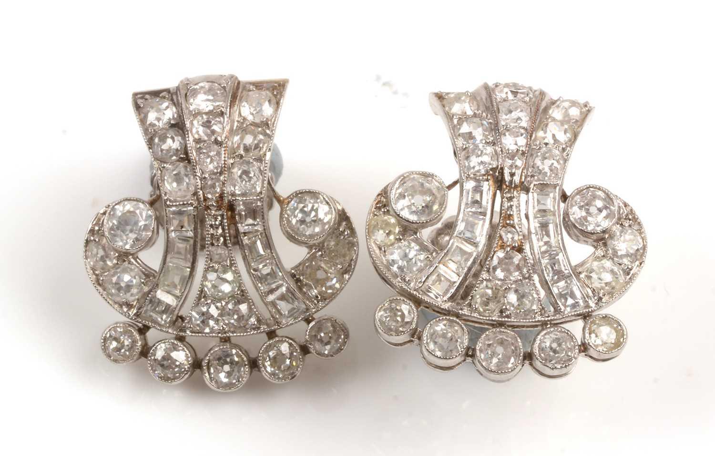 Lot 200 - A pair of Victorian diamond earrings