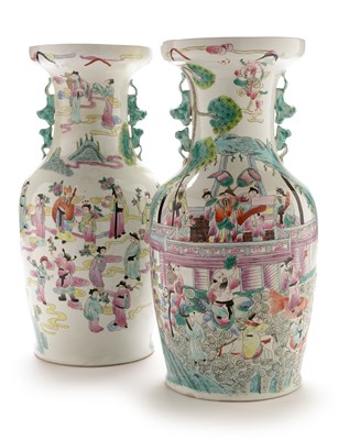 Lot 375-A pair of Chinese Famille Rose vases