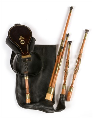 Lot 220 - Set of Northumbrian small pipes.