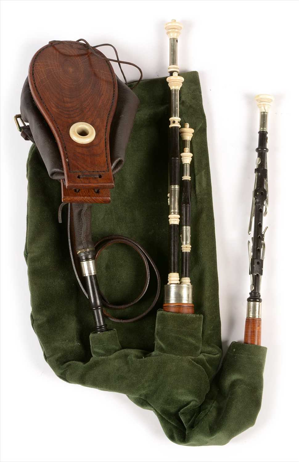 Lot 221 - Set of Northumbrian small pipes.