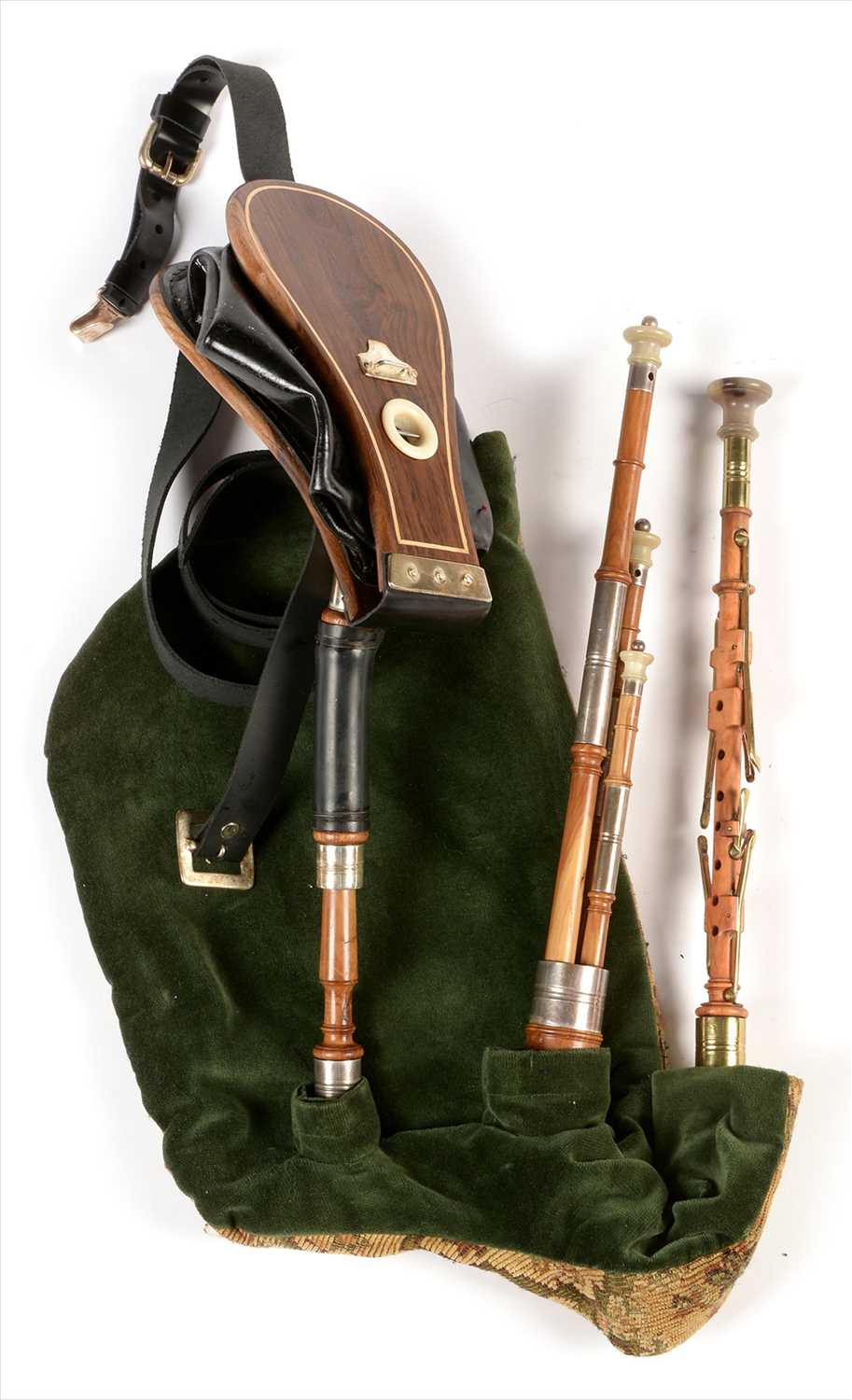 Lot 223 - Set of Northumbrian small pipes.