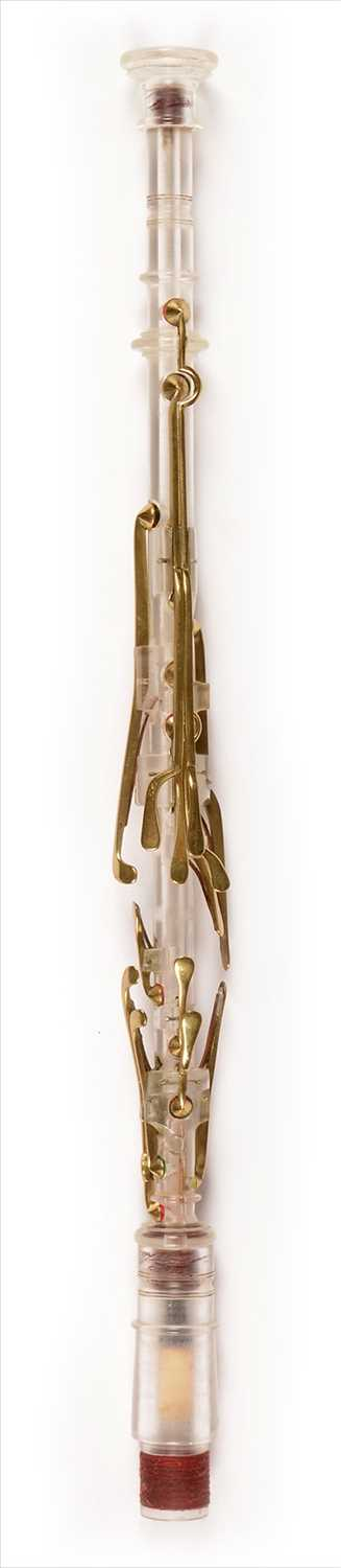 Lot 194 - Experimental perspex and brass chanter.
