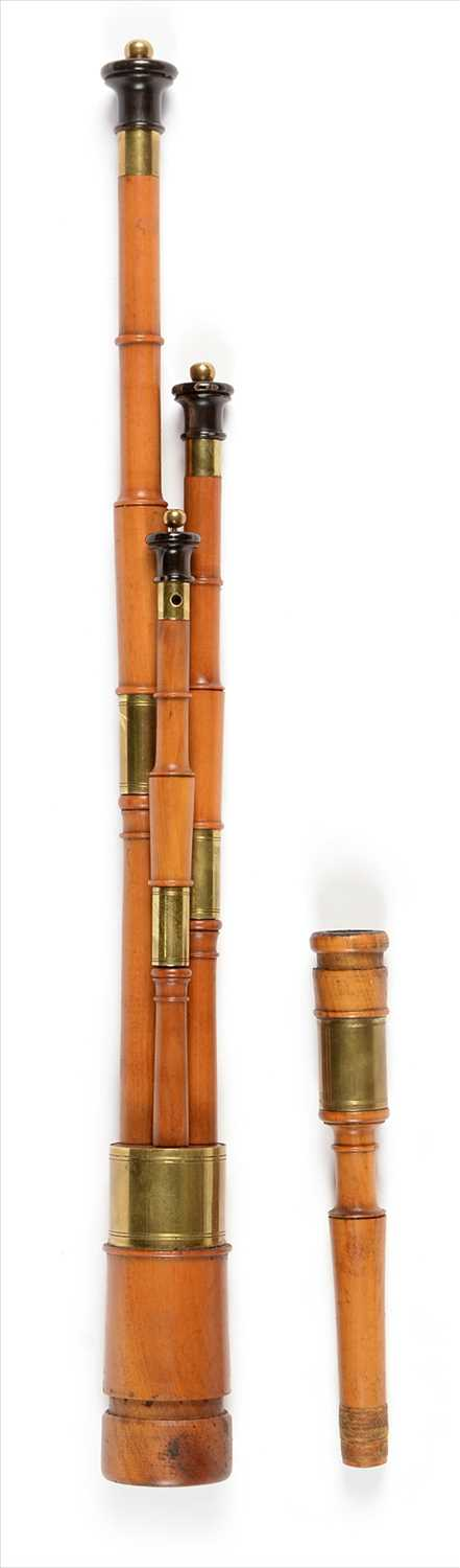 Lot 199 - Set of three pearwood, brass and black horn drones.