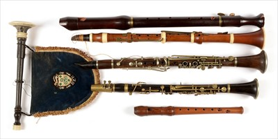 Lot 172 - Three clarinets; two recorders; and a chanter.