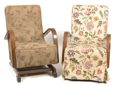 Lot 1192 - Two Art Deco rocking chairs