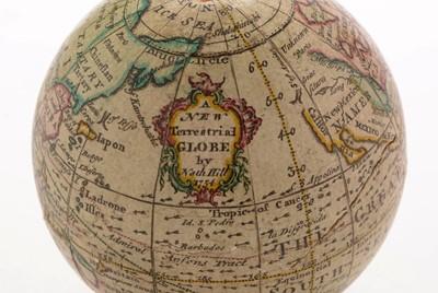 Lot 961 - A Nathaniel Hill 2 3/4-inch pocket globe, English, published 1754