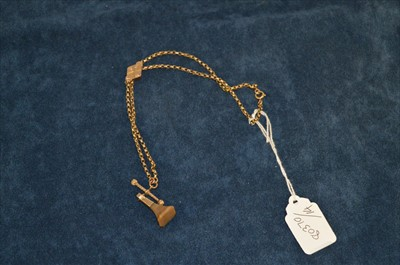 Lot 15-Yellow metal watch chain