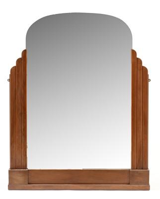 Lot 1131 - Art Deco teak framed overmantel mirror