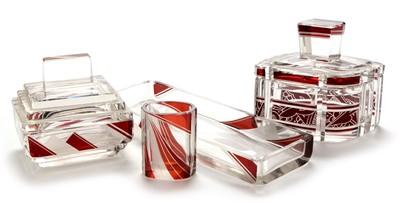 Lot 1111 - Composite Art Deco ruby flash dressing table set