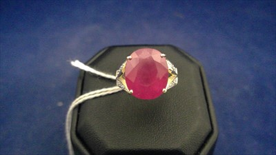 Lot 462-Ruby and diamond ring
