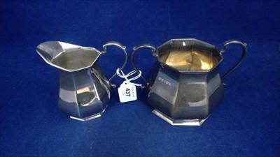 Lot 437-Silver sugar and jug