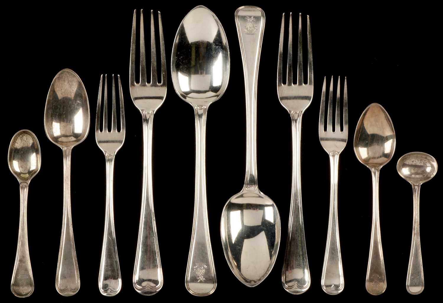 Lot 278-Silver composite suite of cutlery