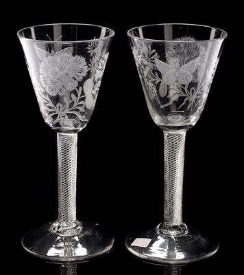 Lot 510-Pair of engraved airtwist wine glasses