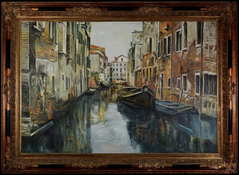Lot 996-20th Century European School - Venetian backwater
