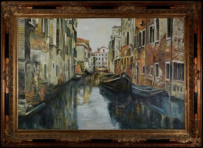 Lot 996-20th Century European School - Venetian backwater