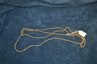 Lot 31-Yellow metal muff chain