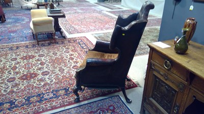 Lot 1093 - Queen Anne style wingback armchair.