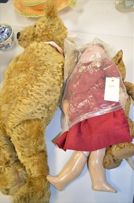 Lot 294 - Vintage doll and teddies