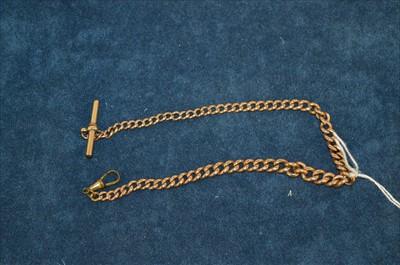 Lot 33-Yellow metal watch chain