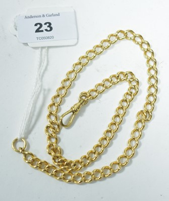 Lot 23-Yellow metal watch chain