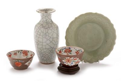 Lot 374-Celadon plate, two tea bowls, crackle glaze vase