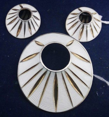 Lot 80-Silver and enamel brooch and earrings