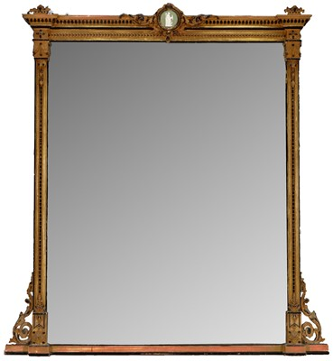 Lot 1164 - late 19th century parcel gilt and gesso overmantel mirror