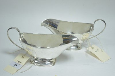 Lot 25-A pair of silver sauce boats