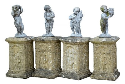 Lot 1188 - Four garden ornaments representing the four seasons