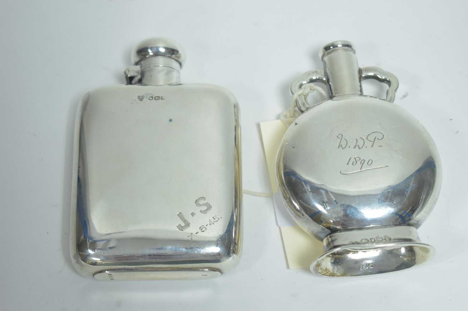 Lot 24-Two silver flasks