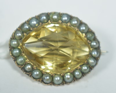 Lot 16-Citrine and pearl brooch