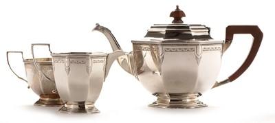 Lot 218 - Art Deco three piece silver tea service
